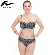 Plus Size Swimwear Swimsuit Women Big Bra Swimwear 2017 Swimsuit Solid Zebra Pattern Large Size Swimwear Bathing Suit(China)
