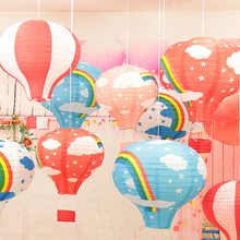 30cm/ 12 inch Hanging Wedding Rainbow Hot Air Balloon Paper Lantern Christmas Wedding Party Birthday Decorations Kids Gift Craft