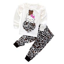 New Baby Girls clothes ZTB Cotton Cartoon Hello Kitty Clothing Sets 2pcs Long sleeve T shirt+Pants Children gril Clothes