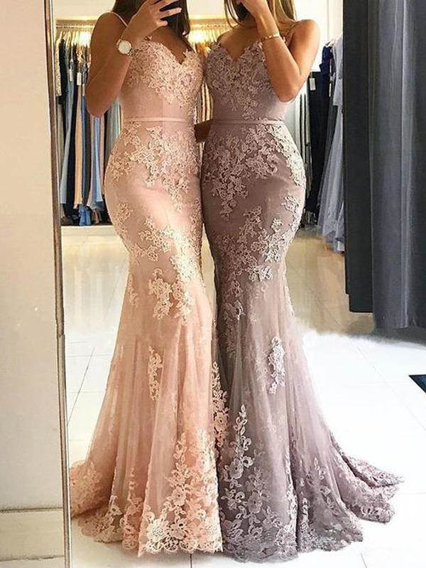 Glamorous Sweetheart Spaghetti Straps Mermaid Evening Dresses Elegant Lace Appliques Special Prom Party Dresses Formal Evening Gowns