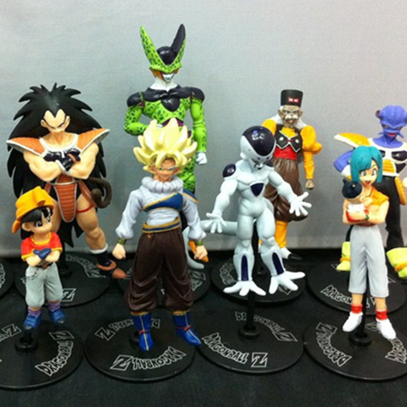 10pcs/set 10CM Dragon Ball Z Son Goku Piccolo Cell Bulma Vegeta Action Figures Toys 2 Style PVC Model Collection Dolls Free Ship<br><br>Aliexpress