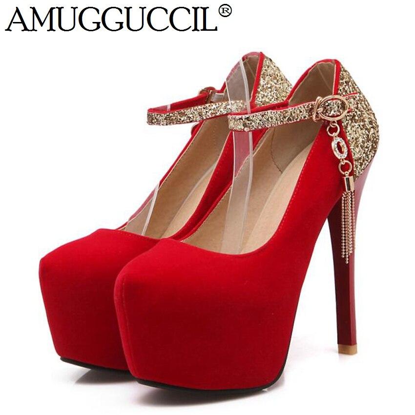 2017 New Arrival Plus Big Size 32-42 Black Red Blue Glitter Sexy High Heel Platform Spring Femlaes Lady Women Shoes Pumps D952<br><br>Aliexpress
