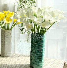 FD824 White Artificial Latex Calla Lily Flowers Bouquet Garden Home Wedding ~1PC(China)