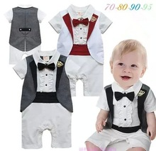 Baby Boys Tuxedo Imperial Crown Romper Infant Summer Bow Tie Jumpsuit Kids Gray White Vest Birthday Party Short Sleeve Clothes