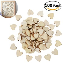 100pcs 20mm Blank Heart Wood Slices Discs for Wedding DIY Crafts Embellishments Christmas Decoration(Wood Color)(China)