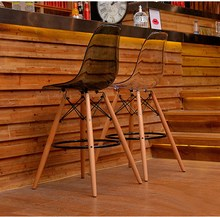 Modern Design Plastic and Wood Counter Bar Stool High Bar Chair Dining Side Chair Seat Height 65cm 69cm 1 SET 2 PCS