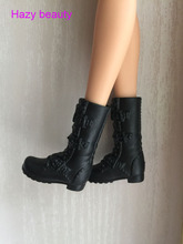 Hazy beauty doll flat shoes black boots for barbie dolls BBI286(China)