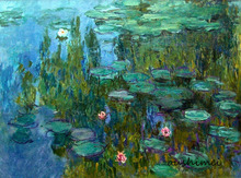 Skill Painter Handmade Impressionist Oil painting Claude Monet Lotus Pool Painting on Canvas Lotus Landscape Home Decoration(China)