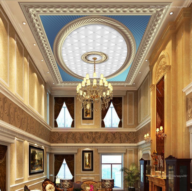 3D Ceiling Photo Wallpaper 3D Golden pattern 3D Ceiling Murals Wallpaper Nonwoven Wall paper Home Decor<br>
