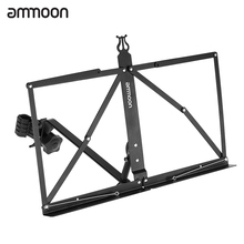 ammoon Portable Music Stand Adjustable Angle Folding Clip-on Music Sheet Book Document Stand Holder Bracket Metal Black