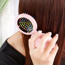 Girls Portable Mini Folding Massage Comb Airbag Massage Round Travel Hair brush With Mirror Cute Anti-static