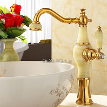 DHL Free Shipping Luxury Golden Basin Faucet Brass Jade Body Shower Bathroom Basin Faucet Cold & Hot Water Tap Mixer Torneiras