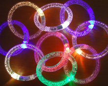 Free Shipping Acrylic flashing bracelet LED flash bracelet neon electronic Thread glow bracelets toys for party 500pcs/lot(China)