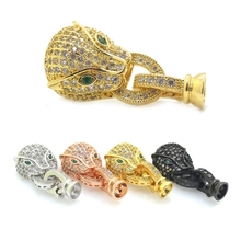 Unique Jewelry Clasp & Hooks,Animal Leopard Clasp Of Bracelet Necklace Micro Pave Cubic Zircon Leopard Beads Diy Jewelry Hooks(China)