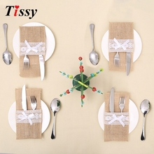 Buy 3PCS Wedding Tableware Jute Lace Pockets Fork&Knife Burlap Holder Pocket Home Table Decor DIY Christmas/Wedding Party Decoration for $2.47 in AliExpress store