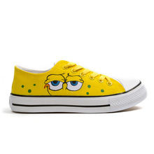 Children Boys Canvas Shoes for Kids Trainers 2017 Autumn Funny Old Minions Anime Sneakers Hand-painted Spongebob Canvas Shoes