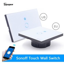 Sonoff EU/US Plug Wifi wireless Touch Luxury Glass Panel Touch LED Light Wall Switch 1Gang Wifi Touch Time Switch Remote Control(China)