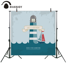 Allenjoy photography backdrop Ocean Birthday Lighthouse Celebrates Children Party new background photocall custom photo printed(China)