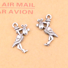 15pcs Bird Eat Fish Charms Pendants for Jewelry Making Vintage Antique Silver Plated DIY handmade 23*18mm