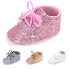 TongYouYuan Newborn Baby Girls Fashion Sparkle Glitter Princess Walking Shoes Infant Toddlers Antiskid Formal Shoes Lace-Up(China)