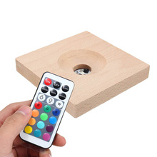 RGB Multicolor LED Night Light Lamp Light Emitting Socket Lamp Base Holder Solid Wood Lamp Holder With Remote Control DC3V
