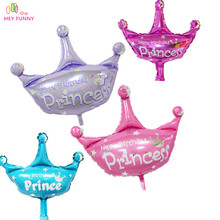 HEY FUNNY 2 pcs/lot 40 inch pink and purple helium baloon princess crown foil balloons for happy birthday party decor globos