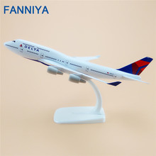 20cm Alloy Metal  Air DELTA Airlines Boeing 747 B747 400 Airways Model Plane Aircraft Airplane Model w Stand Crafts