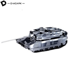 D-Mcark 3D Metal Models Puzzle Metal Kits Works 3D Laser Cut Models Jigsaw Puzzles for Adults Leclerc Main Battle Tank Silver