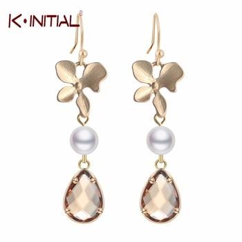 New Statement Orchid Flower and Pearl Drop Earring Fashion Flower Water Drop Earrings for Girls Women Wedding Jewelry Gift