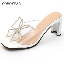 COVOYYAR Chic Butterfly Crystal Women Slippers Mules 2019 Summer Slingback  Strange Heel Women Sandals Pumps Clear Shoes WSL561 62ab24fd5454