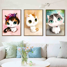 5D DIY diamond mosaic diamond embroidery bedroom cartoon animals cute cat point diamond paste diamond painting cross stitch(China)