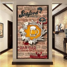 Custom 3D photo wallpaper  3D brick wall fast food restaurant seafood shop beer tooling entrance living room wallpaper mural