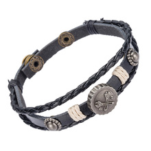 Import Jewelry From China Vintage Metal Charm Bracelet Adjust Size Mens Leather Cuff Bracelet(China)