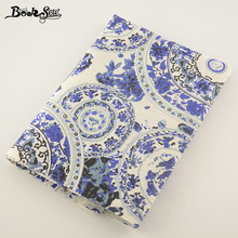 Booksew Cotton Linen Fabric Blue and White Porcelain Design Sewing Tissu For Tablecloth Bag Curtain Cushion Pillow Zakka(China)