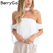 Buy BerryGo Sexy shoulder halter blouse shirt women tops Backless summer crop tops White blouse special sleeve blusas