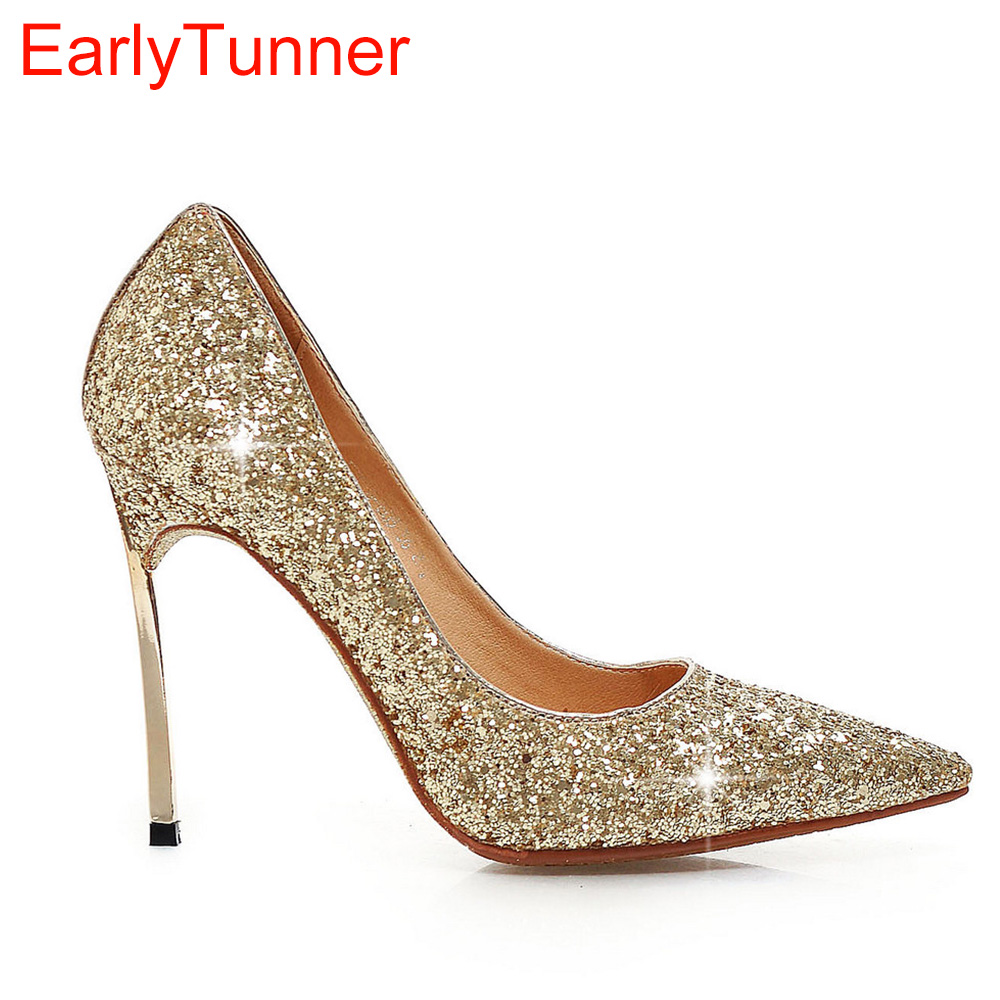 Brand New Sexy Women Wedding Pumps Gold Silver Black Blue Ladies Nude Shoes High Heels EL605 Breathable Plus Big size 32 43 10<br>