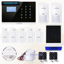 HOMSECUR (EN & FR Menu adjustable) IOS/ Android App Controlled Wireless&Wired GSM/PSTN Home Security Alarm System(China)