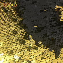 5mm Mermaid Sequins Black Gold  Reversible on Spandex fabric by the yard Sequin Fabric for Clothes Wedding Decor Table Cloth