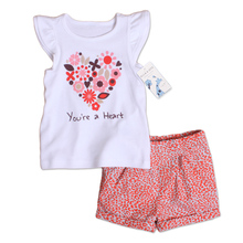 Special Offer Goods Kids Girls Clothing Set Summer Fashion Children's Clothes Girls Sets Cotton T Shirt + Shorts Baby Suit(China)