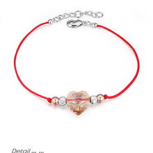 Original Crystal from Swarovski Fashion Heart Charms Made with Swarovski Element Women Red Rope Thread String Chain Bracelets(China)