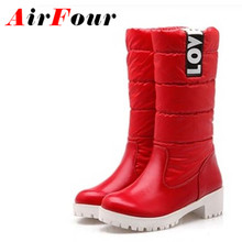 Airfour Women Boots High Quality Down Jacket Mid-calf Winter Boots Warm Slip-on Short Plush Boots Square Heel Snow Boots BigSize
