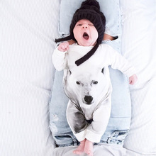 Fashion 2017 polar bear baby rompers newborn baby boy clothes long sleeve baby jumpsuit baby girl clothing infant costume(China)