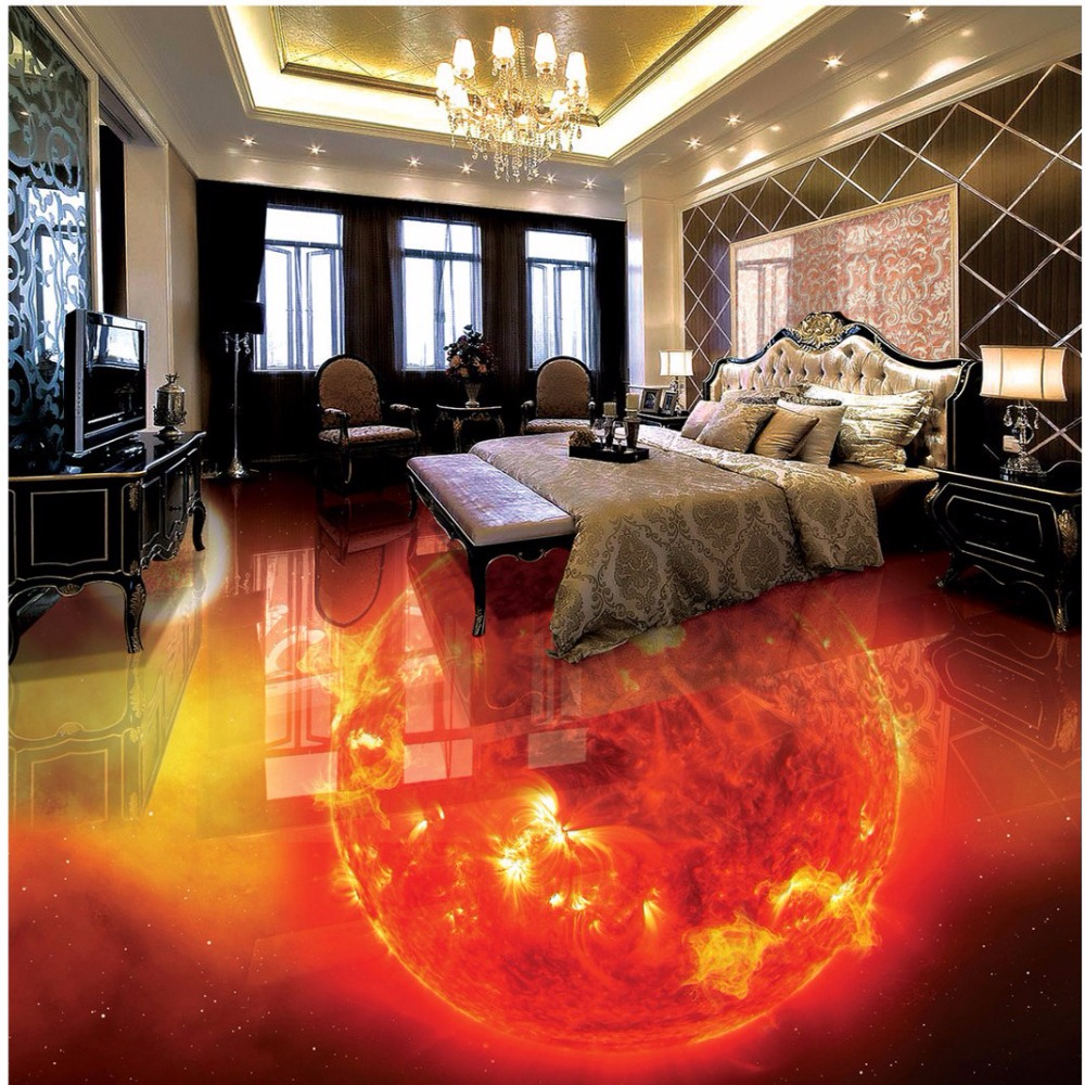 Free Shipping flame burning earth 3D Floor Painting bathroom living room floor tile mural waterproof wallpaper<br>