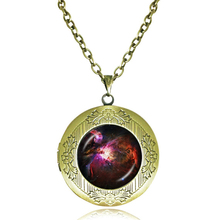 red black outer space galaxy pendant necklace nebula jewelry glass art photo locket necklaces men channel necklace jewelry
