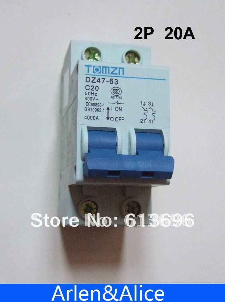 2P 20A 400V~ 50HZ/60HZ Circuit breaker AC MCB safety breaker C type ...
