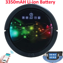 Smartphone WIFI APP Control Robot Vacuum Cleaner Wet And Dry Mop,Robot Aspirador With Water Tank,3350MAH lithium Battery(China)