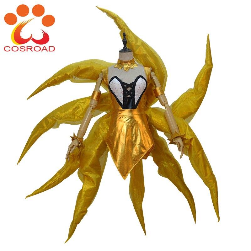 Cosroad LOL Prestige Edition KDA Ahri Cosplay Costume Nine Tailed Fox Ahri Wigs for Halloween Party