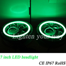 energy saving car led headlight Market 7inch black Face green Halo LED Round Low/High Beam Headlight with DRL