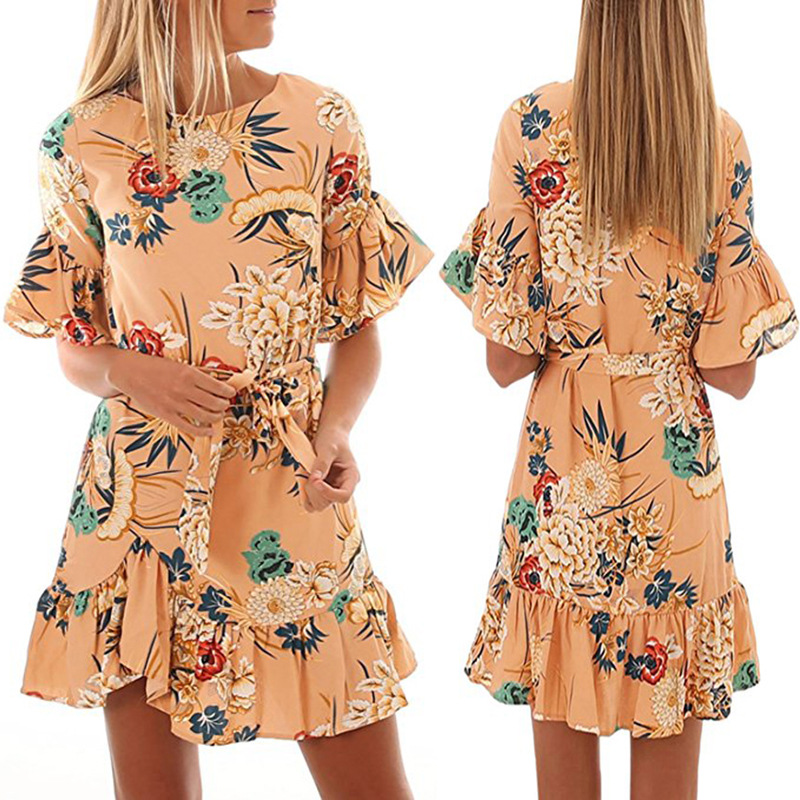 Lossky Summer Women Beach Dress 2018 Bohemian Floral Print Boho Dress O-Neck Short Sleeve Ruffle Mini Chiffon Dress With Belt 21