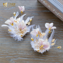 Trendy silk flower hairgrips feather hair clips pearl women hairpins girl party jewelry bride headpiece wedding accessories BS01(China)